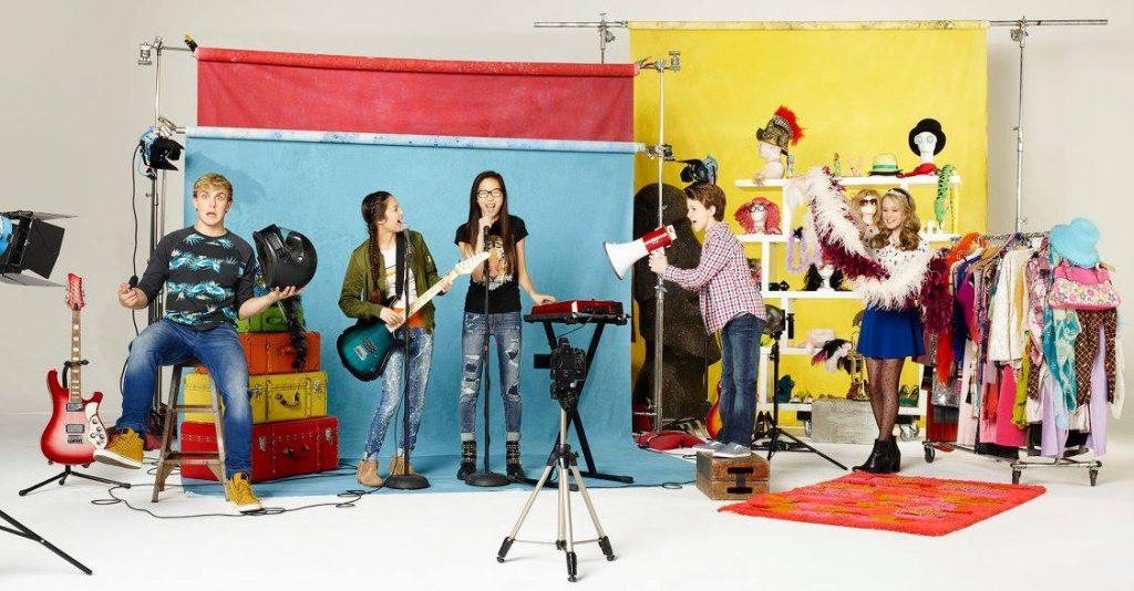 "BIZAARDVARK - Disney Channel's ""Bizaardvark"" stars Jake Paul as Dirk, Olivia Rodrigo as Paige, Madison Hu as Frankie, Ethan Wacker as Bernie and DeVore Ledridge as Amelia. (Disney Channel/Craig Sjodin)"