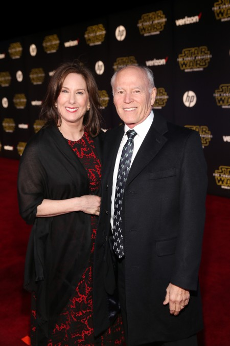 HOLLYWOOD, CA - DECEMBER 14: President of Lucasfilm Kathleen Kennedy (L) and producer Frank Marshall attend the World Premiere of Star Wars: The Force Awakens at the Dolby, El Capitan, and TCL Theatres on December 14, 2015 in Hollywood, California. (Photo by Jesse Grant/Getty Images for Disney)