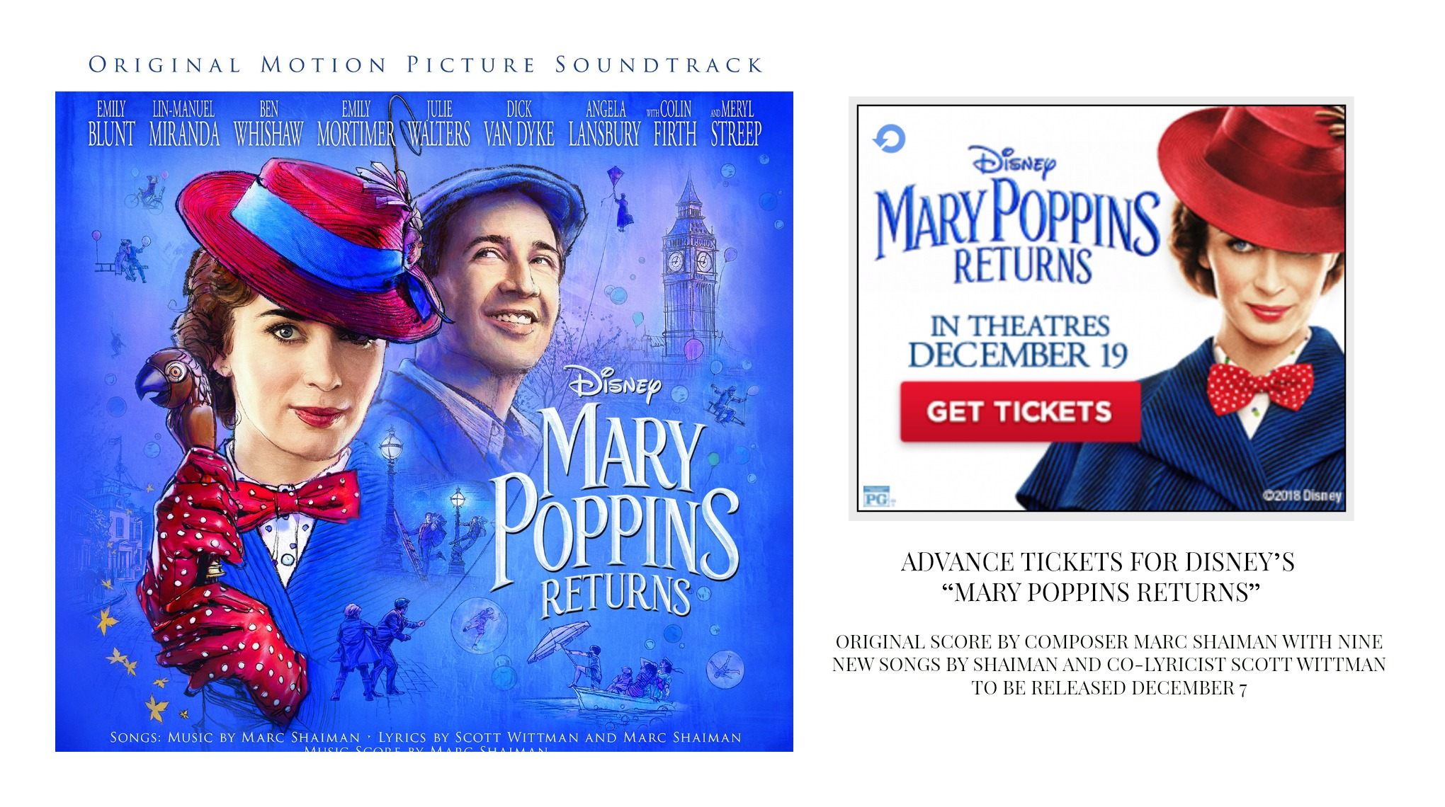 """ADVANCE TICKETS FOR DISNEY'S """"MARY POPPINS RETURNS"""""""