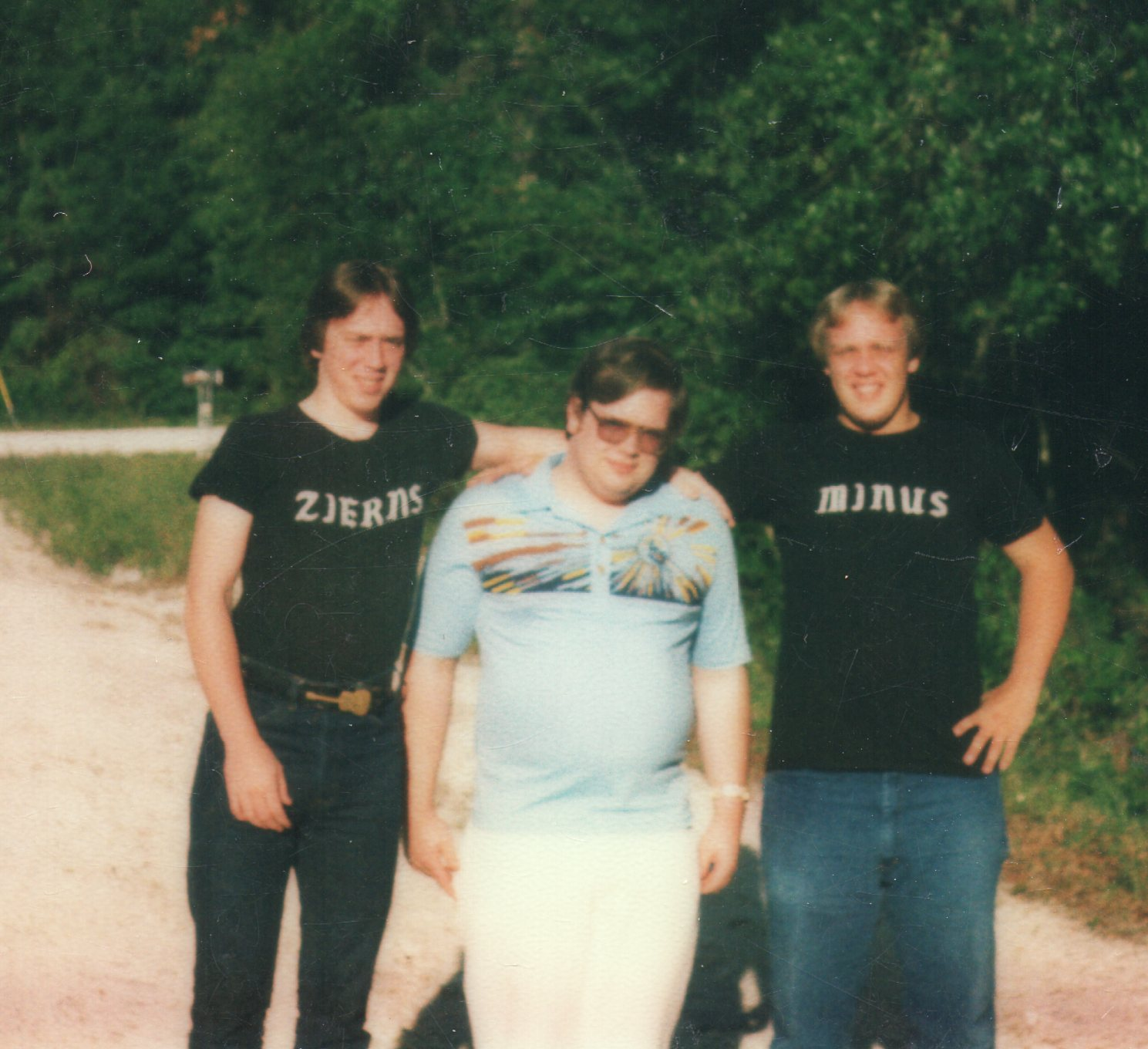 """James on left, and brothers Kevin and Bruce """"Note the Zierns shirt I wore ,was my nick name. that is where the name came from."""""""