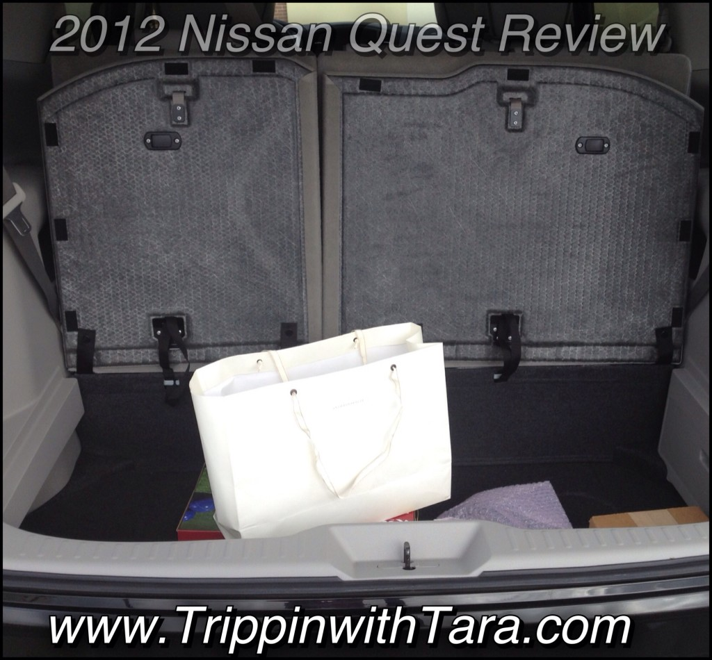 Huge trunk space in the 2012 Nissan Quest look at the extra compartment.