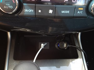 2013 Nissan Altima SL USB and car charger plug in the middle console area.