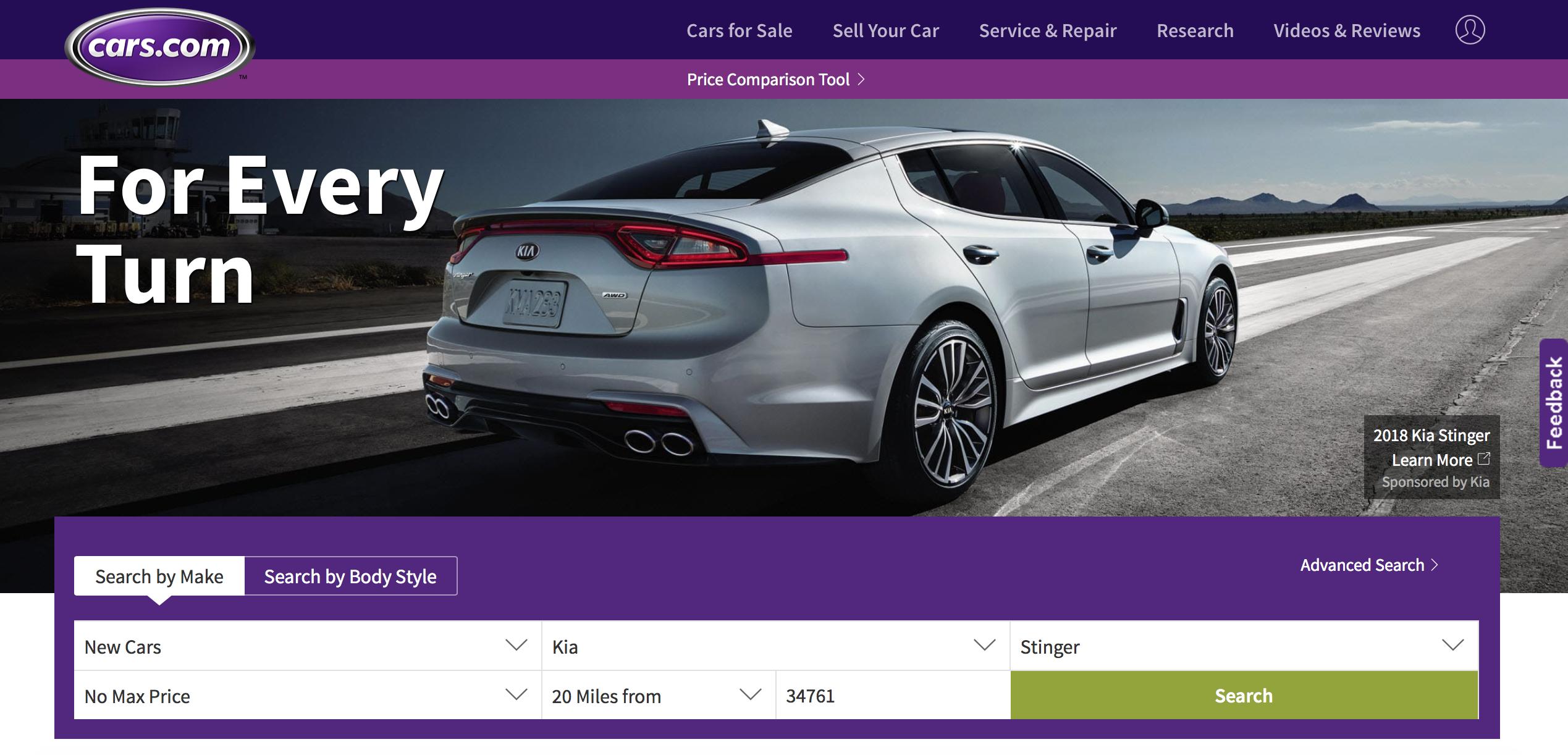 Cars.com Home Page