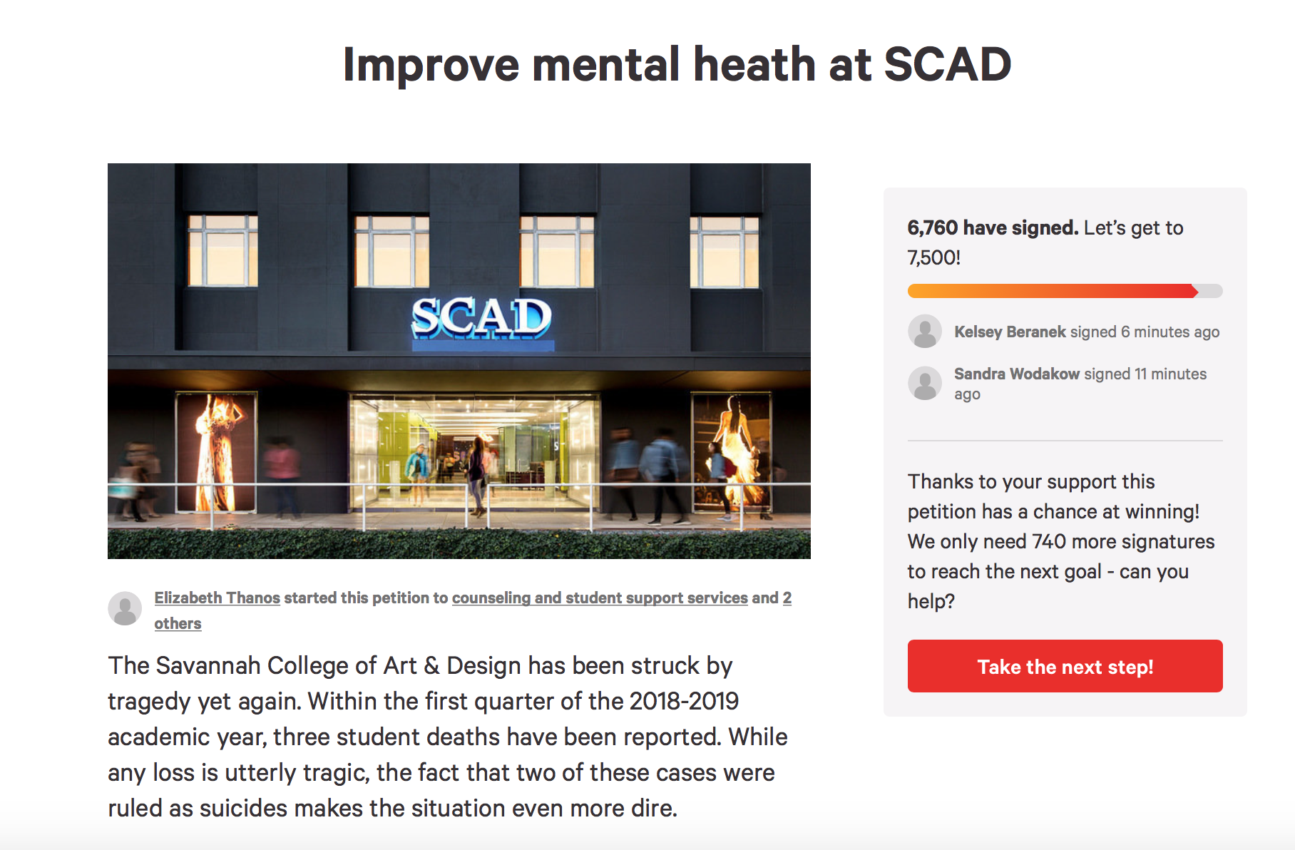 SCAD Mental Health Petition