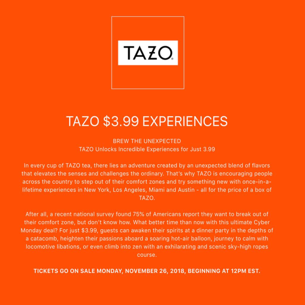 TAZO tea Experiences
