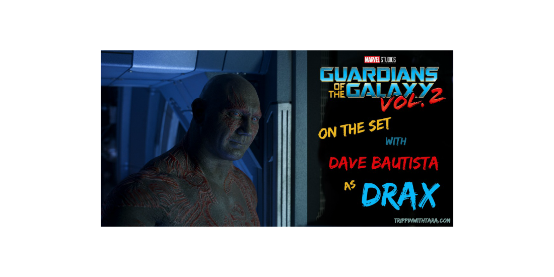 Drax on the set of Guardians of the Galaxy vol 2