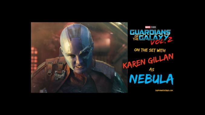 Karen Gillan as Nebula on the set of Guardians of the Galaxy Vol 2