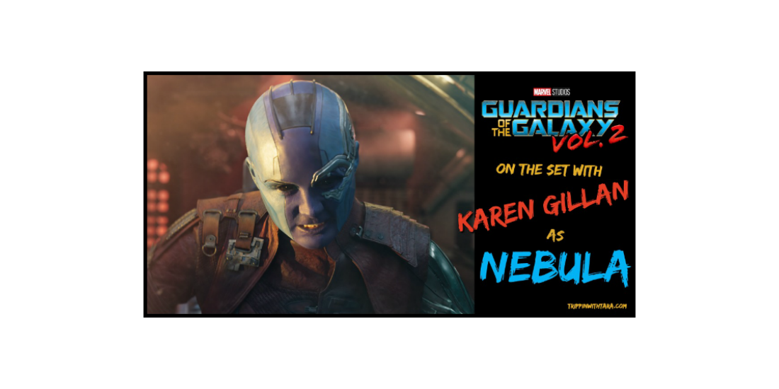 Karen Gillan as Nebula on the set of Guardians of the Galaxy Vol 2