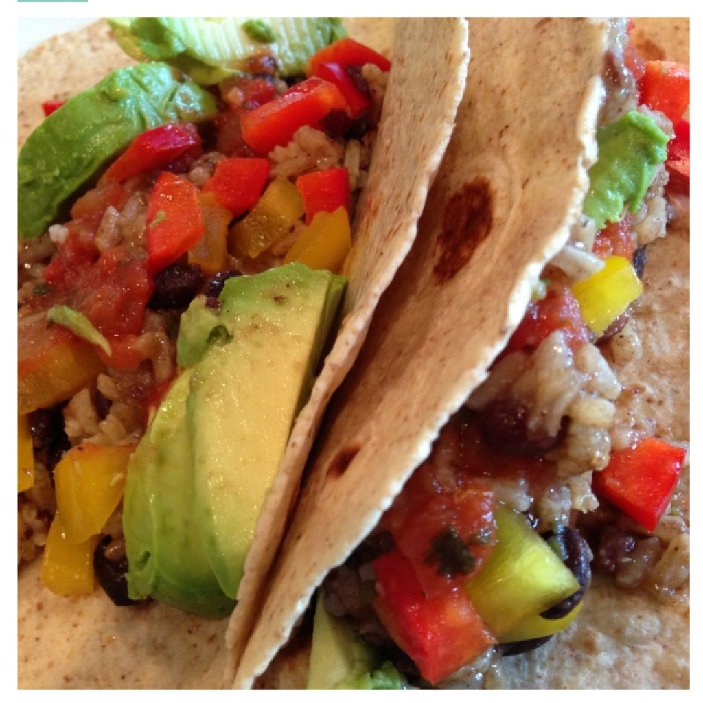 Black bean and rice tacos, with avocado and peppers