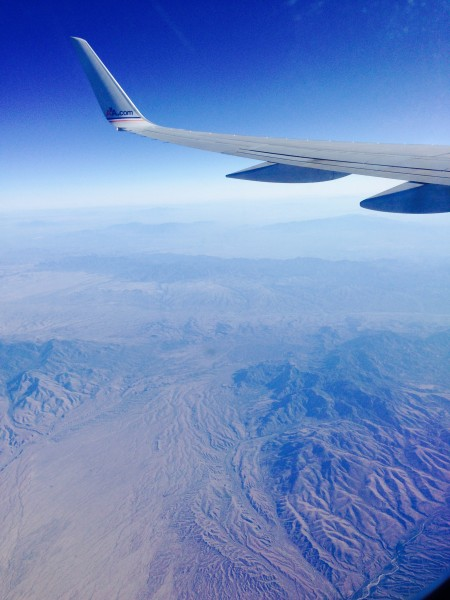 Out the window while over the Grand Canyon.